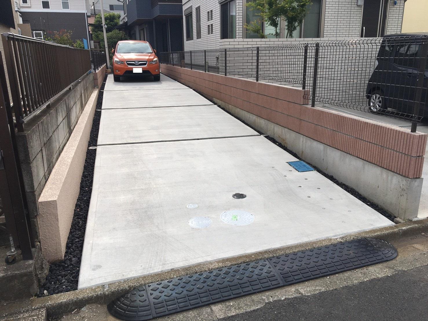 駐車スペースとなる土間コンクリート